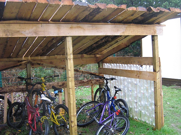 Plastic Bottle and Re-cycled Timber Shed