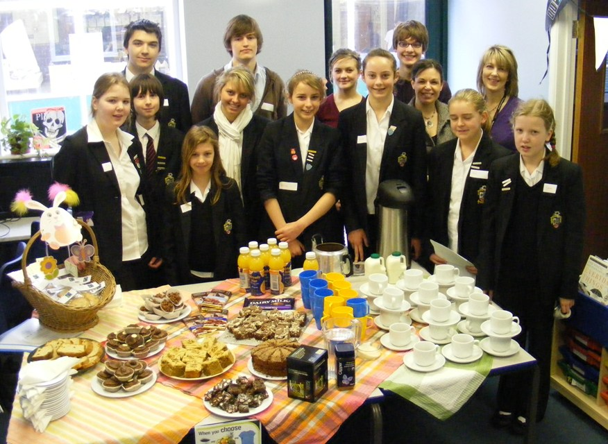 Fairtrade team with food for Montacute students
