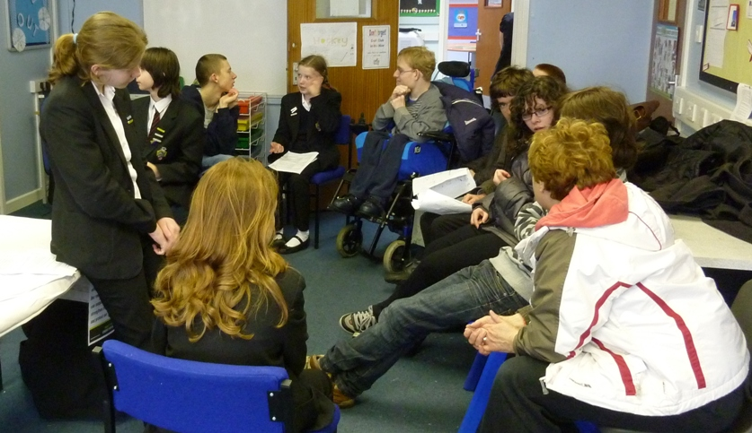 Group discussing with Montacute students