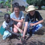 Planting trees at the primary school