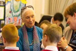 Dr Jane Goodall, DBE and students; photo credit @Roger Marks Photography