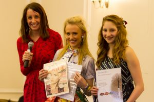 Lucy Siegle with Fashion Show 2nd Place Winners; photo credit @Roger Marks Photography