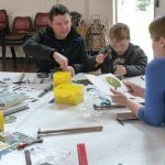 40-2013 Aut Portway pupil Scott brings his family to the half-term label making workshop
