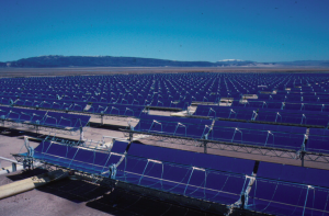 Part of the 354 MW Solar Energy Generating Systems (SEGS) parabolic trough solar complex in northern San Bernardino County, California. Copyright USA.Gov - BLM - BUREAU OF LAND MANAGEMENT