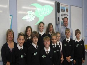 Representatives from the Rocket Science team with Mr Hearmon and Mrs Williams.