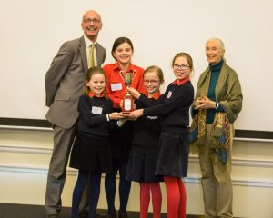 James Allen Girls School receiving their award for Most Outstanding Group from Dr Jane Goodall. Credit: Roger Mark Photography