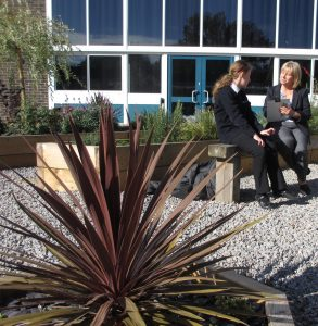 Mrs Williams (Lead Eco-schools teacher) and Year 8 student Ami Prince discussing learning.