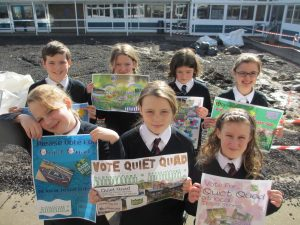 Eco-committee students drumming up support for our Tesco Bags of Help vote.