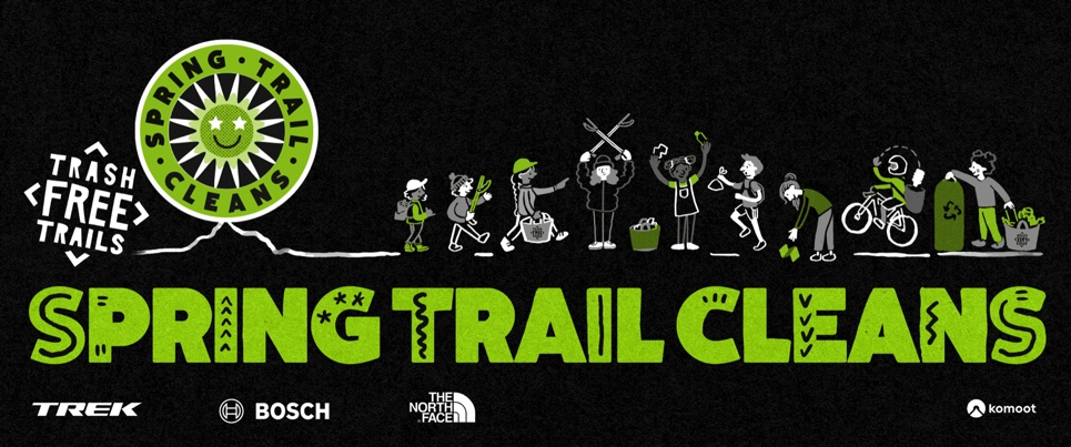 Green and while illustration on black background which reads Trash Free Trails Spring Trail Clean
