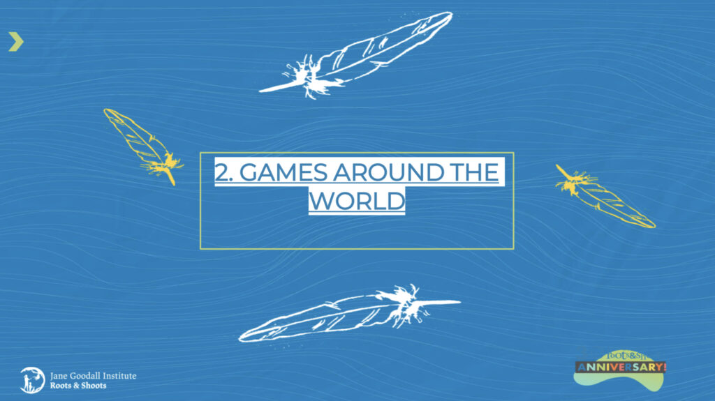 Blue rectangle with two white feathers, and the words 'games around the world' in the middle in blue and white writing